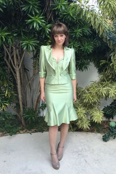 Luca Luca Unique Vintage Mint Green Silk Suit by OffbeatChicBoutique on Etsy