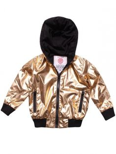 Plastering gold printed bomber jacket for boys