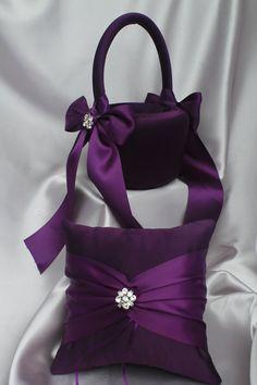 Plum Eggplant Flower Girl Basket and Ring by UniquelyYouBridal