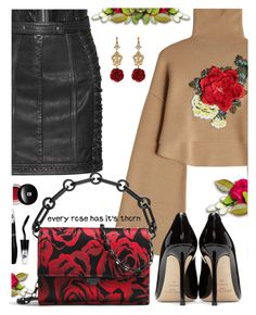 """""""Every rose has it's thorn"""" by juliehooper ❤ liked on Polyvore featuring Balmain, William Fan, Michael Kors, Jimmy Choo, Edward Bess, Lancôme, Dolce&Gabbana, roses, polyvoreeditorial and statementbags"""