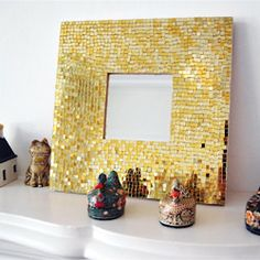 A step by step guide to making your own gold mosaic mirror.