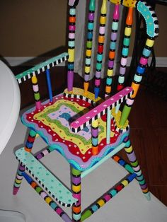 Handpainted Wooden Highchair by funpaintedliving on Etsy