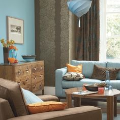 blue-and-orange living room, brown, neutrals