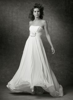A-line Strapless Draped Bodice Flower Accent Pleated Chiffon Wedding Dress-wa0354, $229.95