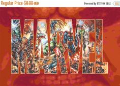 "ON SALE Counted Cross Stitch Pattern PDF chart - Marvel logo  with characters - 31.50"" x 20.71"" - L952"