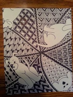 """Dog's Bow Wow"" original Zentangle inspired ink drawing"