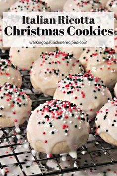 Italian Ricotta Cookies - Family Christmas Cookie Tradition from Walking on Sunshine Recipes. Super soft, moist, cake-like cookies. Cookie Desserts, Holiday Desserts, Holiday Baking, Christmas Baking, Holiday Recipes, Family Christmas, Christmas Treats, Dessert Recipes, Gourmet Cookies