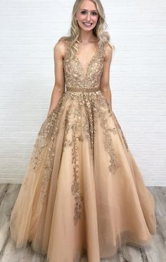 A Line V Neck Long Lace Applique Prom Dresses Cheap Ball Gown Cheap Prom Dress, Champagne Prom Dress, Sleeveless Prom Dress, Ball Gown Prom Dress, V-neck Prom Dress Prom Dresses 2020 Grad Dresses Long, V Neck Prom Dresses, Ball Gowns Prom, Tulle Prom Dress, Junior Bridesmaid Dresses, Cheap Prom Dresses, Formal Dresses, Tulle Lace, Elegant Dresses
