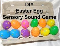 Auditory Sensory game. Match the eggs by the sound of what's inside them.