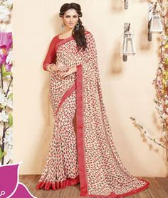 Buy Red Georgette Printed Saree With Blouse 75056 with blouse online at lowest…