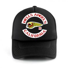 Retro Hells Angels CALIFORNIA TRUCKER HAT Cap Snapback Mesh Baseball Funny