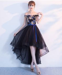 Black lace tulle high low prom dress, homecoming dress