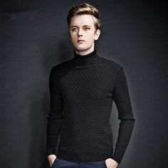 Europe And America Style Cotton Turtleneck Man Sweater 2016 winter fashion men brand pullover plaid design mens jumper Free XXXL