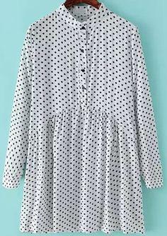 White Stand Collar Polka Dot Vintage Dress