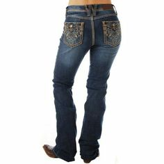 Women's Cowgirl Up Dark Embroidered Jeans