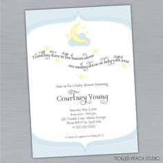 Cute crescent moon invite. Good for a Gamma Phi Alumni mommy-to-be.