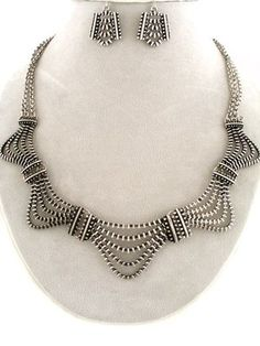 ODERN Silver Design ZIPPER Art Deco Fashion UNIKLOOK Jewelry Necklace EARRINGS