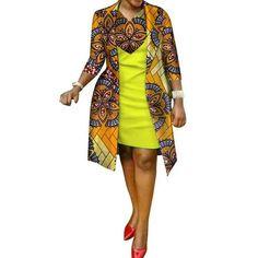 African cotton wax Print Dress and Suit Coat for Women – Afrinspiration African Print Shirt, African Print Dress Designs, African Shirts, African Print Dresses, African Print Fashion, African Dress, African Design, African Lace, African Style