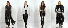 Modelki w skórzanych spodniach z pokazu jesienno-zimowej kolekcji Sass and Bide.