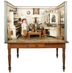 Grand German Wooden Childs Play Kitchen on Original Table, circa 1890.