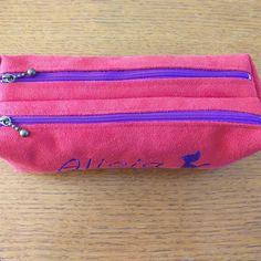 Trousse Zip-Zip en suédine rose cousue par Blandine - Patron Sacôtin