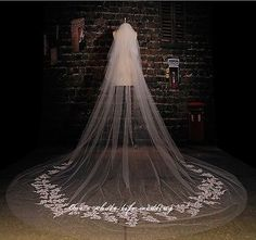 2015 Ivory Beautiful Cathedral 1 Tier Wedding Veil Lace Purfle 3 Meter Long