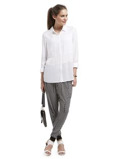 Featuring the Contrast Panel Shirt, Splice Stripe Cuff Pant and Modern Lady Sling Bag
