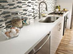 Corian® Designer White Kitchen Countertop And Sink