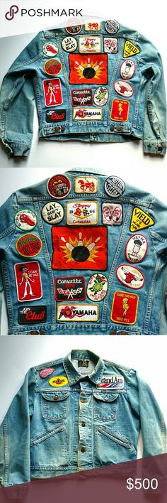 """Vintage Maverick Denim Jacket With Patches Well worn denim jacket has lots of personality! Authentic vintage 70s, 80s & 90s patches. Measurements Length 22"""" Shoulder: 19"""" Chest: 22"""" Sleeve length: 24"""" Vintage Jackets & Coats Jean Jackets"""