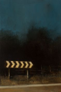 CHEVRON ROAD SIGN, OIL ON PANEL 2015. BY BEN MCLAUGHLIN.