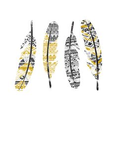 Mustard Feathers Stretched Canvas