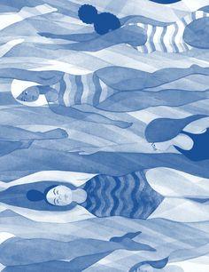 Eleni Kalorkoti   swimming illustration