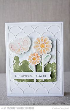 Fly-By Friends, Fly-By Friends Die-namics, Dainty Scallop Cover-Up Die-namics, Distressed Patterns, Wonky Stitched Square STAX Die-namics - Keisha Campbell  #mftstamps