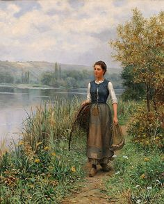 The Athenaeum -  The Fisherman's Daughter Daniel Ridgway Knight - circa 1899 Private collection Painting - oil on canvas22 x 18 1/4 inches Framed dimensions: 32 x 29 inches Signed and inscribed Paris