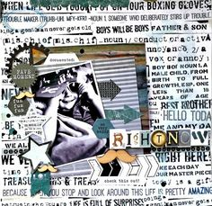 Kaisercraft : Scrap Yard Collection : Right Now layout by Amanda Baldwin Scrapbook Paper, Scrapbooking Ideas, Scrapbook Layouts, Baby Album, Boxing Gloves, Ink Pads, Children, Boys, Yard