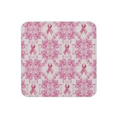 Victorian Breast Cancer Ribbon Damask Products Drink Coasters