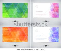 Vector abstract banner designs collection with geometric hexagonal backgrounds - stock vector