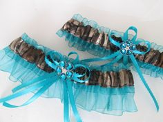 REAL TREE CAMO Wedding Garter Set Teal Garter by GibsonGirlGarters