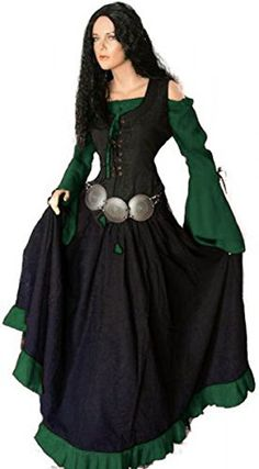 Dark Dreams Gothic Mittelalter LARP Kleid Schankmaid II, Größe:S/M;Farbe:schwarz/grün