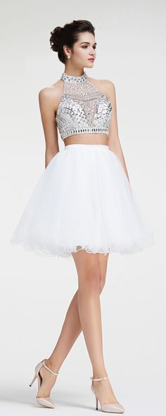 Halter Crystal Sparkly Two Piece White Short Prom Dresses ...