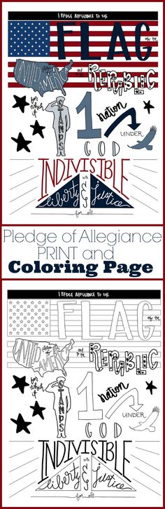 Pledge of Allegiance Printable art and Coloring page activity for 4th of July. Patriotic craft idea for kids and adults!