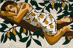 Goddess of the Pear Tree, limited edition linocut print, image 400x600mm, by Anita Klein.  http://www.castorandpollux.co.uk/goddess-of-the-pear-tree-limited-edition-linocut-print-image-400x600mm-by-anita-klein/dp/12638