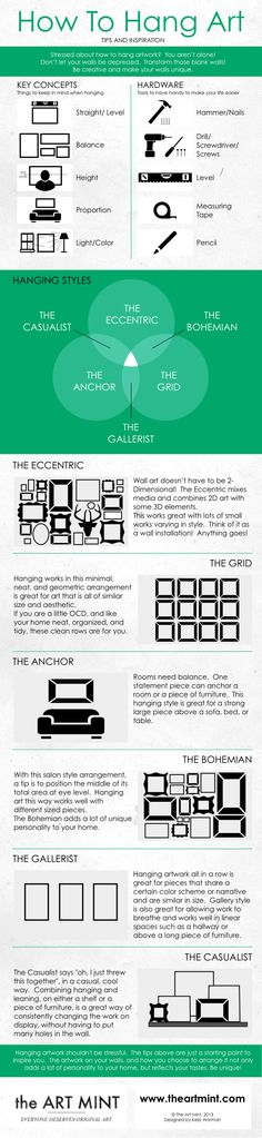 Great infographic on arranging your art collection!  http://infographiclist.files.wordpress.com/2013/06/how-to-hang-artwork_51892bc8324da.jpg