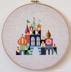 Pretty Little City Colorful Castle Cross stitch by SatsumaStreet