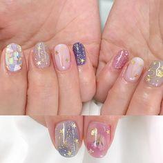 Kawaii Nail Art, Cute Nail Art, Cute Nails, Pretty Nails, Natural Nail Designs, Cute Nail Designs, Aycrlic Nails, Hair And Nails, Korean Nail Art