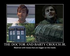 Doctor and Barty Crouch Jr by on Doctor and Barty Crouch Jr by on Just A Bunch Of Fandom Nonsense. Because doctor who is sadness. - i'm mainly pinning this for the previous comment xD Harry Potter Fanatic ( Virginia Woolf, Space Man, Barty Crouch Jr, Interview, John Barrowman, Fandom Crossover, Harry Potter Love, David Tennant Harry Potter, 10th Doctor
