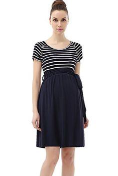 Momo Maternity Button Detail Nautical Style Dress  M