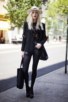 Versatile black leather shorts, dress up for evening with sparkly top and heels and team with blazer tights and shoes/ankle boots for daytime glamour