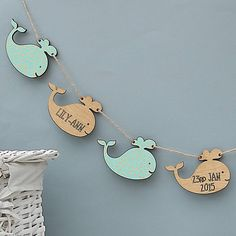 Personalised Baby Whale Bunting