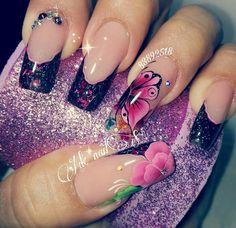 Flower Nail Designs, Colorful Nail Designs, Coffin Nails, Acrylic Nails, One Stroke Nails, French Manicure Nails, Finger Painting, Flower Nails, Cool Nail Art